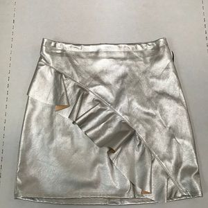 Silver Metallic Pleather Skirt Size 6